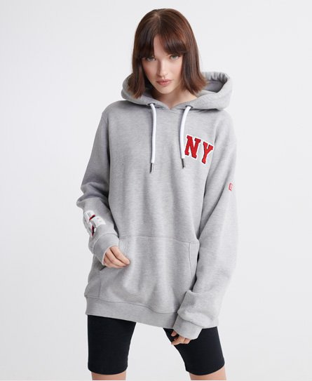 Superdry women\\\'s SQDB Tower hoodie. This hoodie features a drawstring hood, front pouch pocket and ribbed cuffs and hem. Complete with applique Superdry branding on the chest, a textured Superdry logo on the hood and Superdry logo patch on one sleeve. Relaxed fit