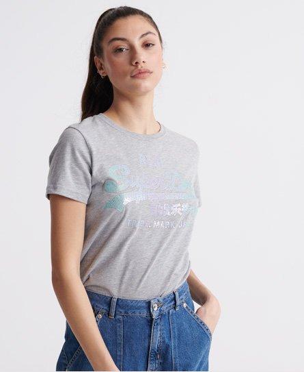 Superdry T-Shirt Damen VL GLITTER EMBOSS ENTRY TEE Charcoal Rugged