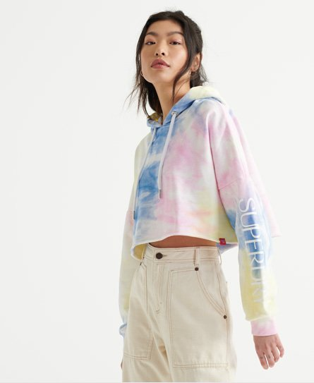 Superdry women\\\'s Tie Dye Crop Hoodie. This cropped hoodie features an all over multi colour print design. This also features a drawstring hood, ribbed cuffs and distressed hemline. This is finished with a Superdry tab on the hem.