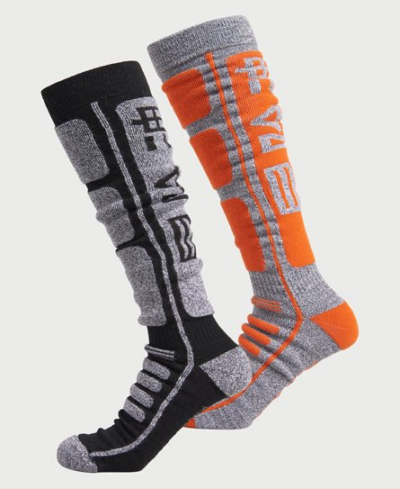 Whether you\\\'re climbing a mountain, or braving the slopes, you need a quality pair of socks to keep you focused. Our Merino sock are designed to keep you cool, dry, and comfortable, wherever you are. Merino wool blend Antimicrobial finish Moisture wicking Key Length cushioning Superdry branding 1 Pair Grey/Orange 1 Pair Grey/Black