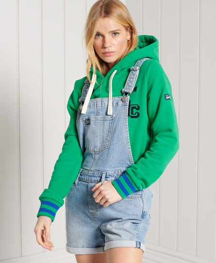 Superdry Utility Dungaree Shorts In Blue Liner Stripe