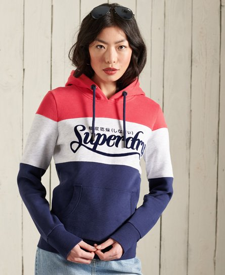 Superdry Premium Logo Colour Block Brushed Hoodie