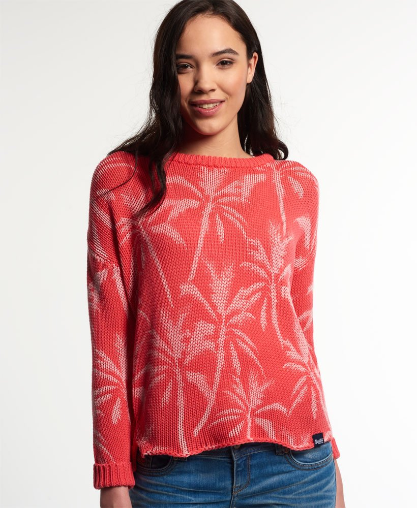 Superdry Palm Print Slouch Knit Jumper