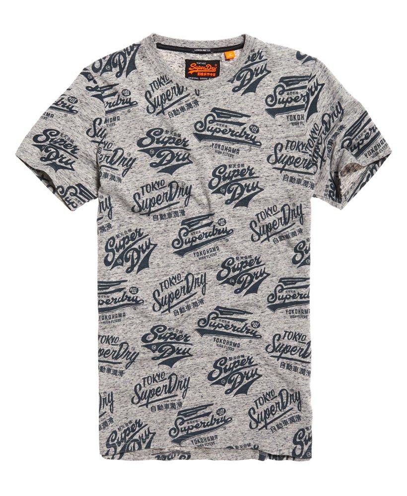 Superdry Triple Logo All Over Print Long Line T-shirt