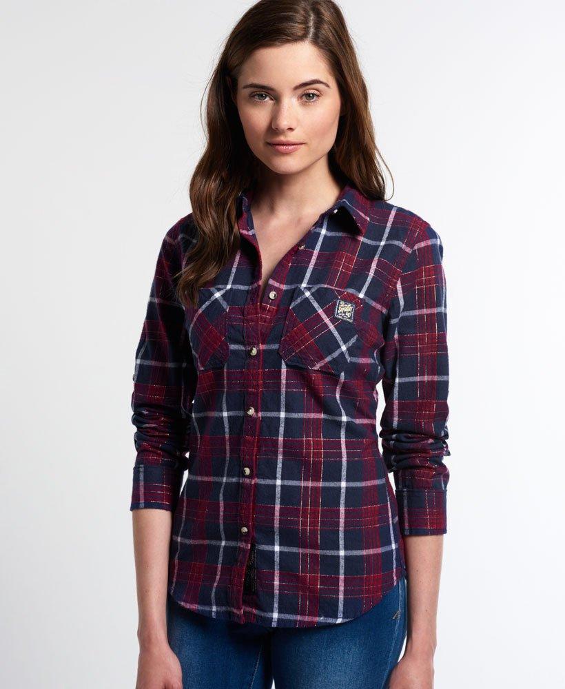 New Womens Superdry Lumberjack Shirt Navy