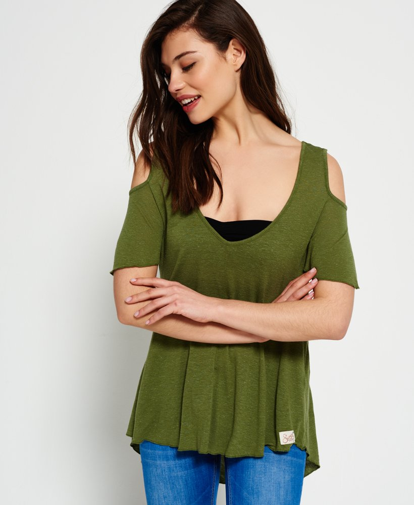 ad18e9752a1 Womens - Boho Off The Shoulder Top in Dark Olive   Superdry