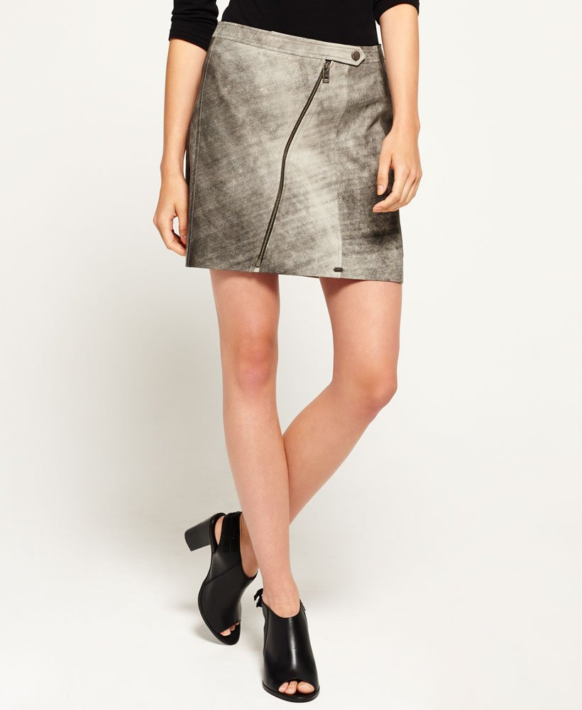Superdry Distressed Leather Biker Skirt