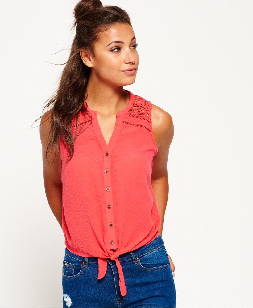 Superdry Schiffli Applique Sleeveless Tie Top