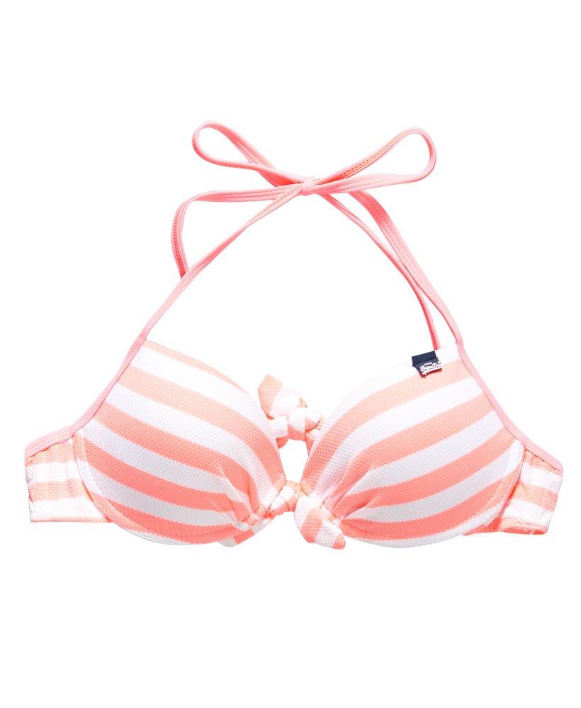 New Womens Superdry Marine Stripe Bikini Bottoms Fluro Coral