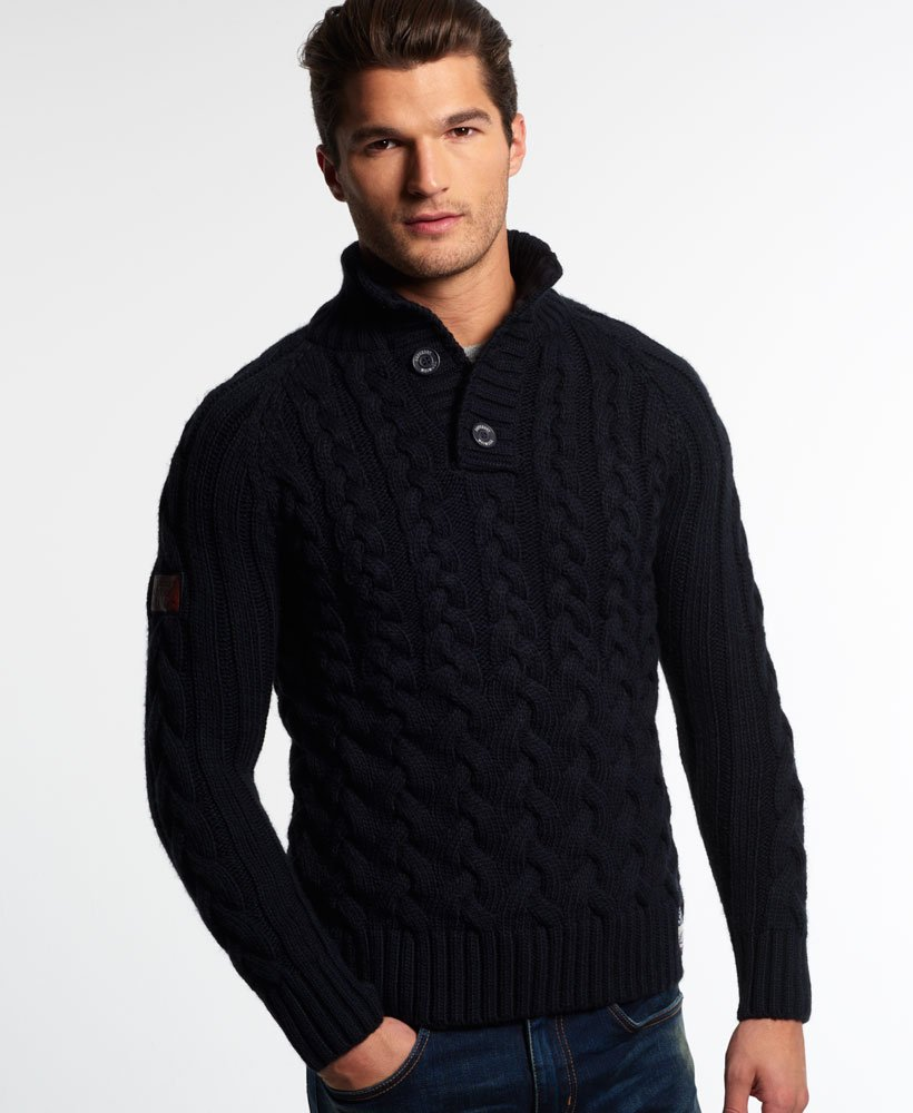Superdry Ultimate Cable Henley Sweater Mens Sweaters