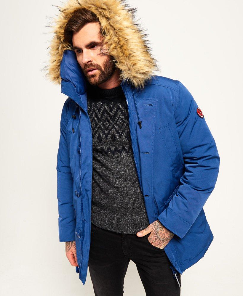 Mens Blue Parka Jacket