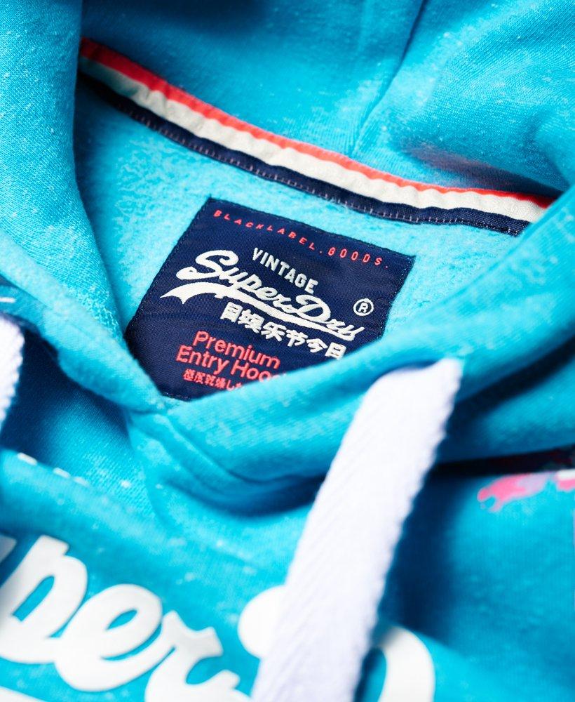 Womens Superdry Sweat All Over Hoodie Shirt Aquamarine Snowy