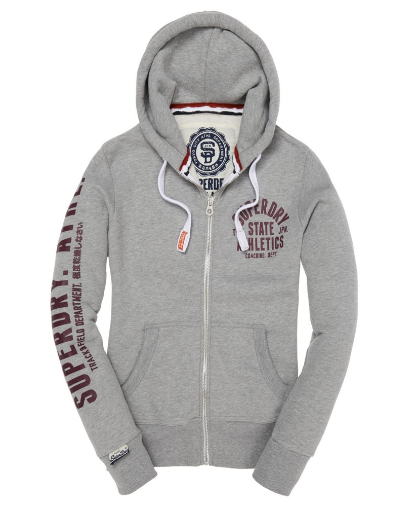 Mens Track & Field Zip Hoodie in Grey Marl | Superdry