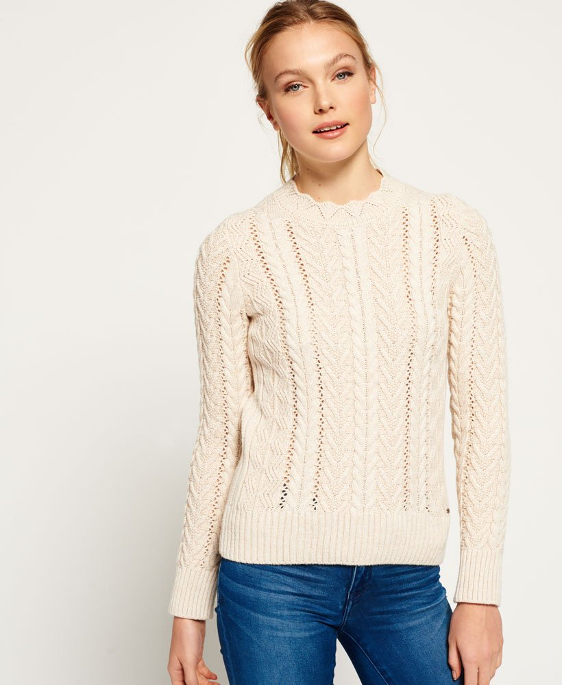 57e6274729d Womens - Ryder Cable Knit Jumper in Cream | Superdry