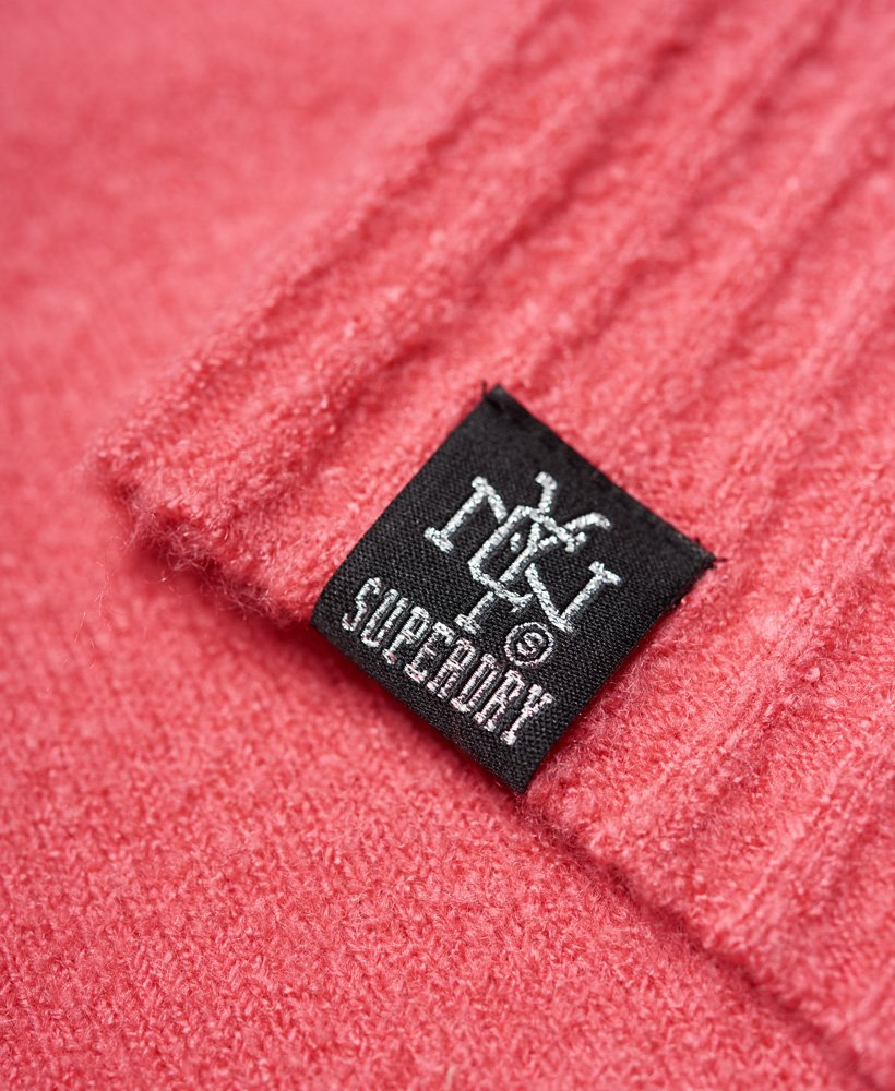 New Womens Superdry Ruben V-Neck Jumper Bright Pink