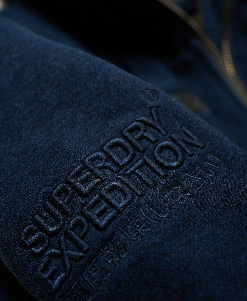 New Mens Superdry Hemmingway Fur Lined Zip Hoodie Deep Indigo Grindle