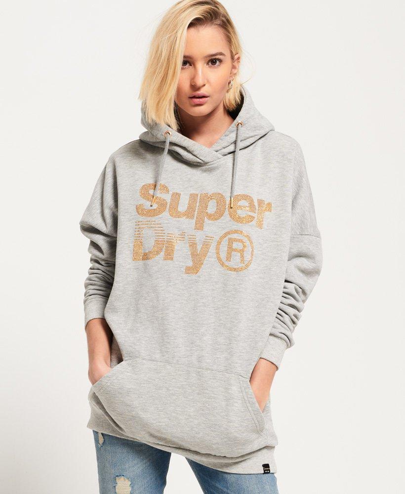 New Womens Superdry Sparkle Skater Hoodie Heelflip Grey Marl