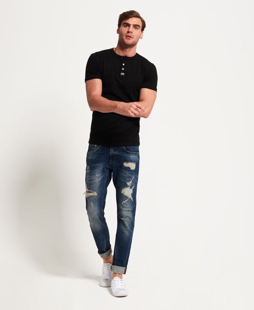 T-Shirt Noir Boutonné