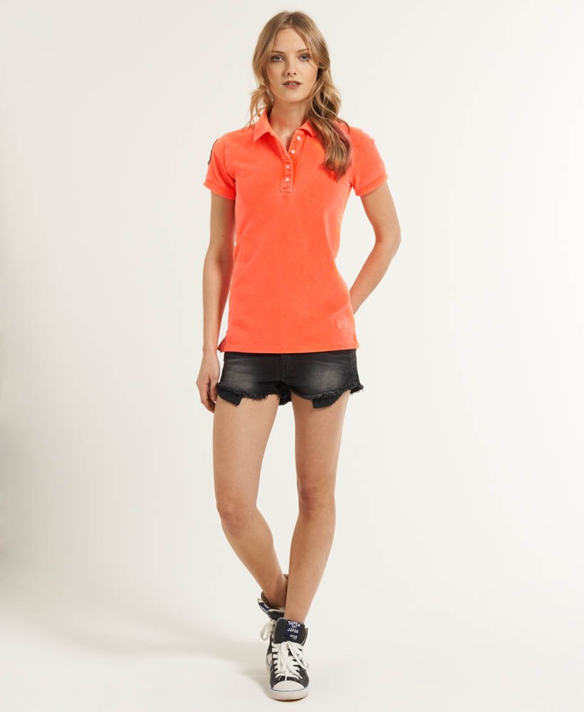 Womens Vintage Hit Pique Polo in Fluro Coral | Superdry