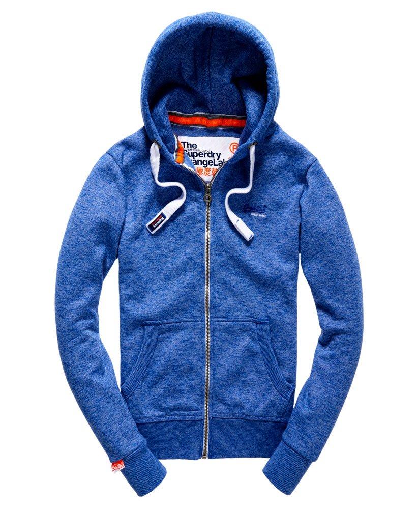 Mens Orange Label Zip Hoodie in Mazarine Blue Mega Grit