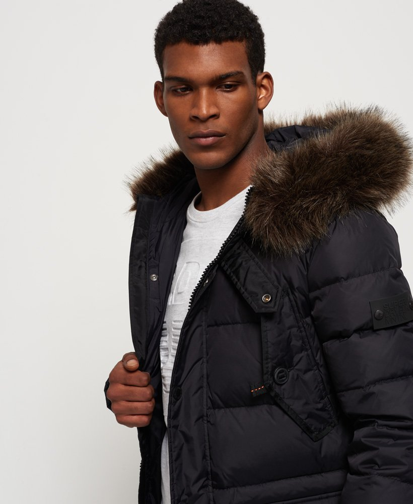3645d6d1f Mens - Longline Down Chinook Parka Jacket in Black | Superdry