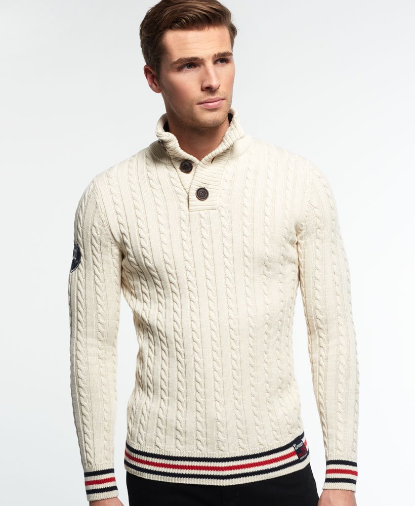 Superdry Cricketer Henley Sweater Mens Sweaters