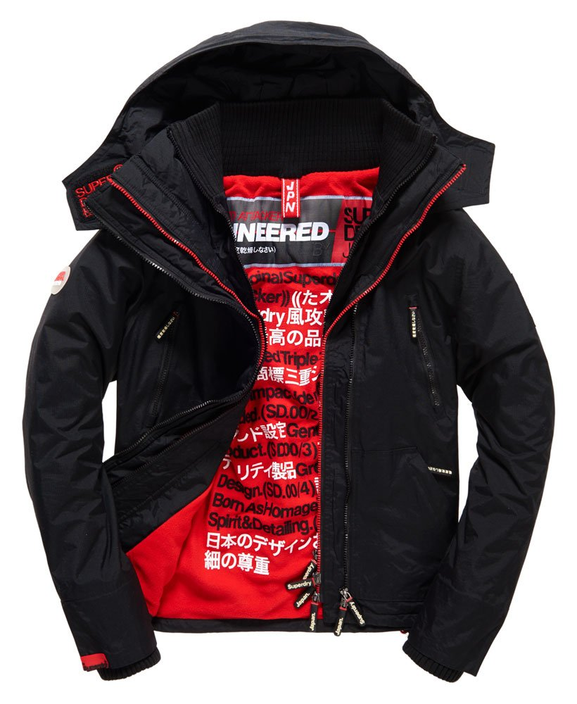 c121bc2fff Mens - Hooded Arctic SD-Wind Attacker Jacket in Black/rebel Red ...