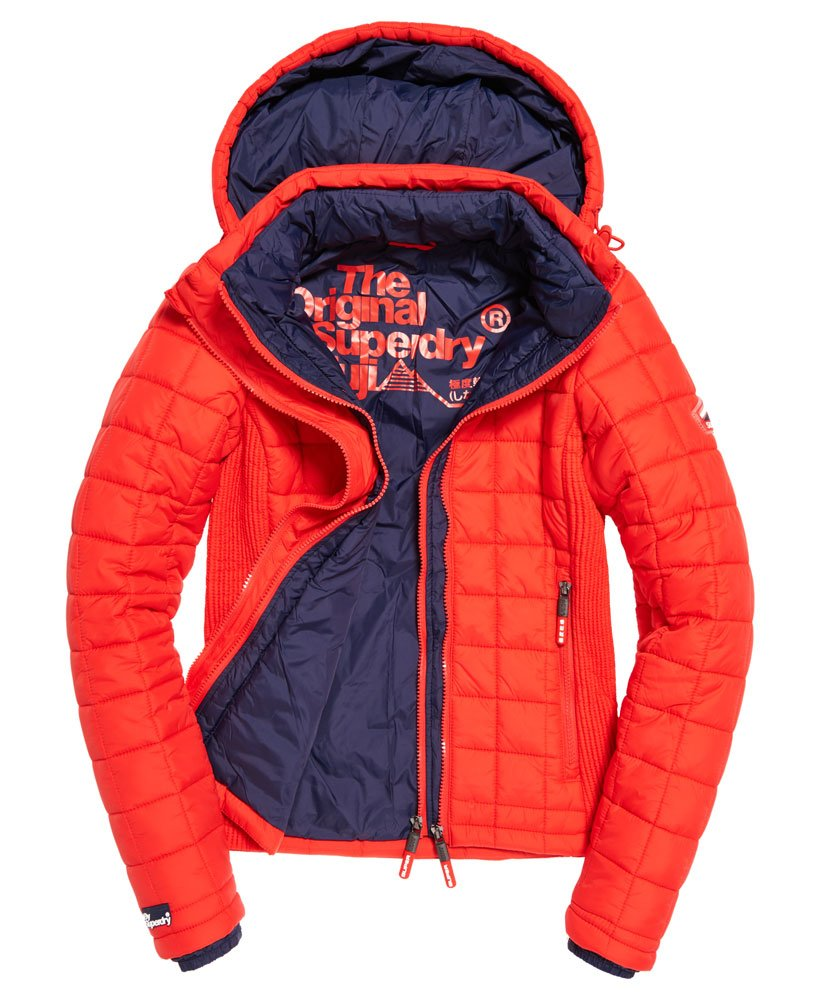 Womens Hooded Box Quilt Fuji Jacket In Bright Red Superdry