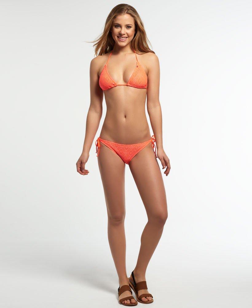 New Womens Superdry Diamond Lace Bikini Bottom Sunburst Coral