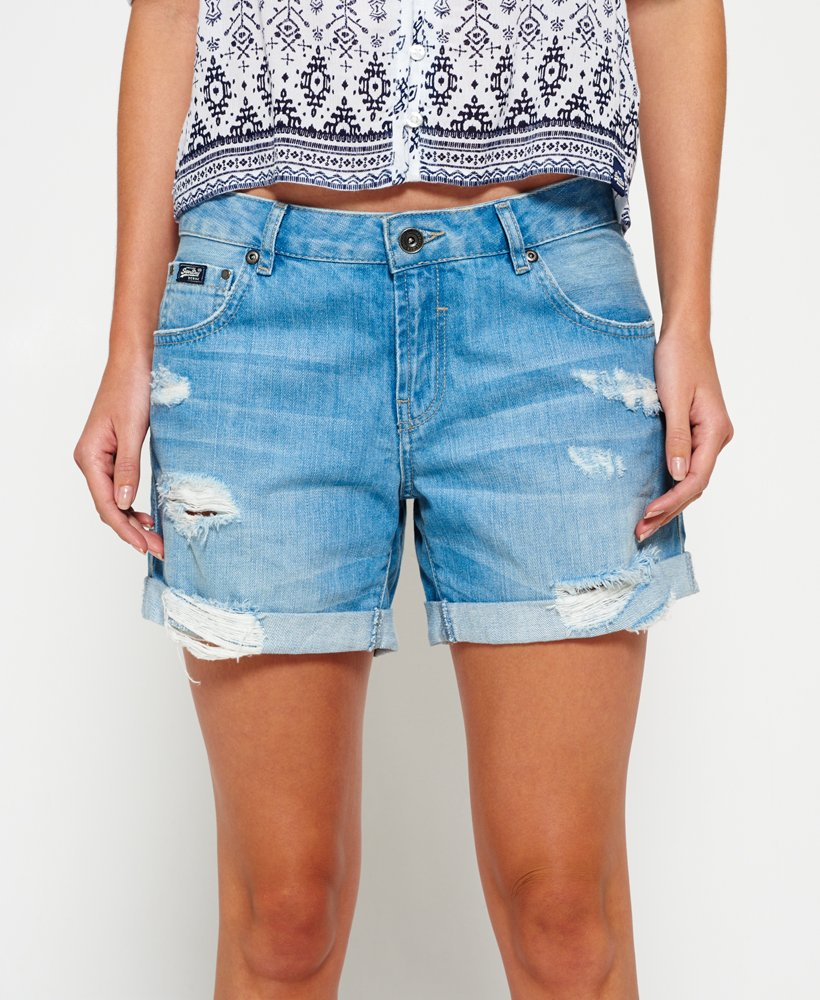 Womens - Steph Boyfriend Shorts in Authentic Light Wash   Superdry c666ee4589a4