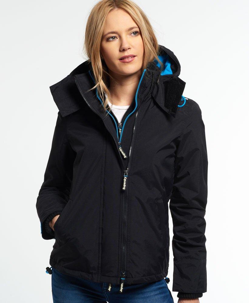 Womens - Pop Zip Hooded Arctic Windcheater Jacket in Black fluro ... 75d6c4df977