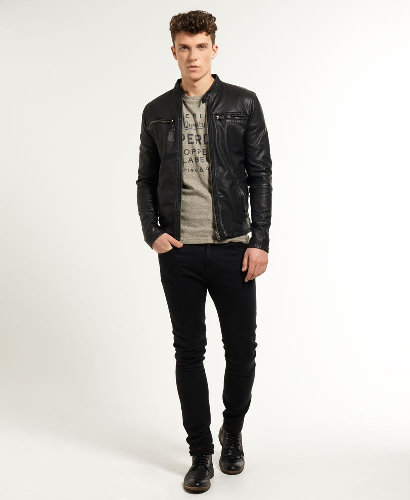 02e4844a3 Superdry Real Hero Leather Biker Jacket for Mens