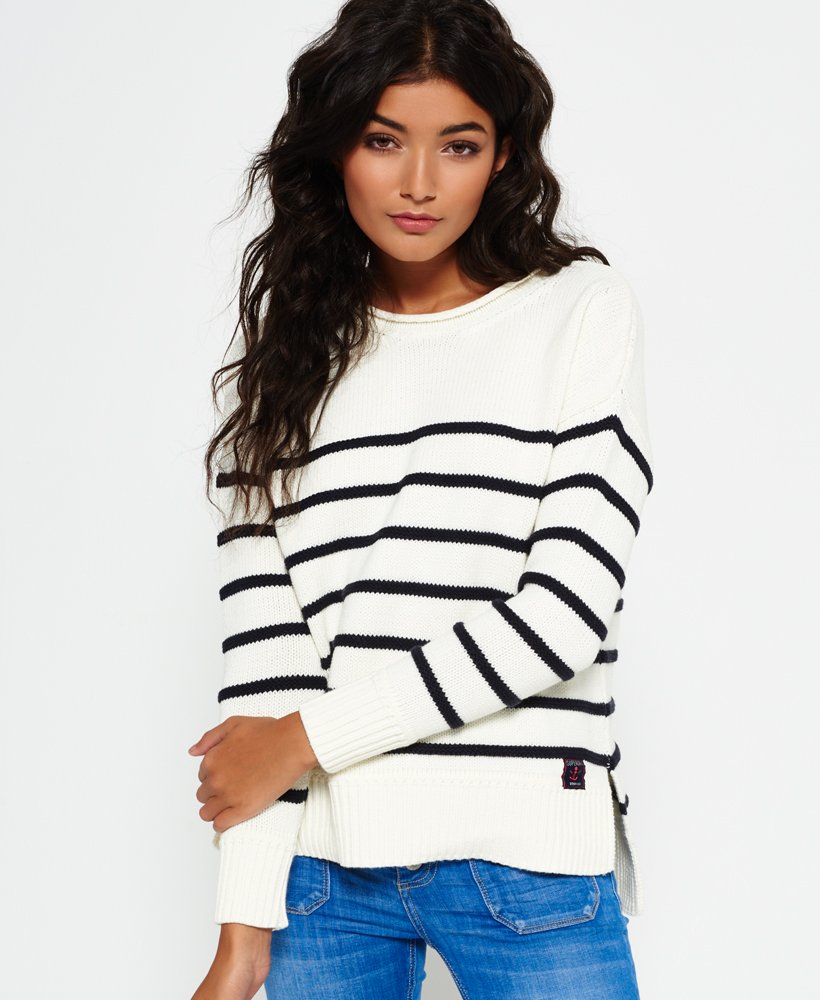Superdry Marine Stripe Slouch Knit Jumper  thumbnail 1