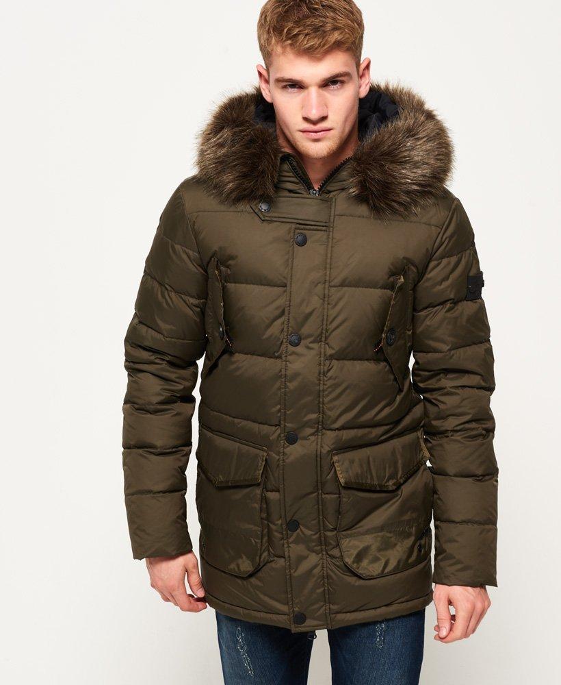 b01f5c45c0e Mens - Longline Down Chinook Parka Jacket in Dark Khaki | Superdry