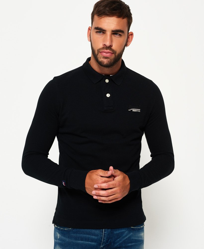 Superdry Classic Long Sleeve Pique Polo Shirt thumbnail 1