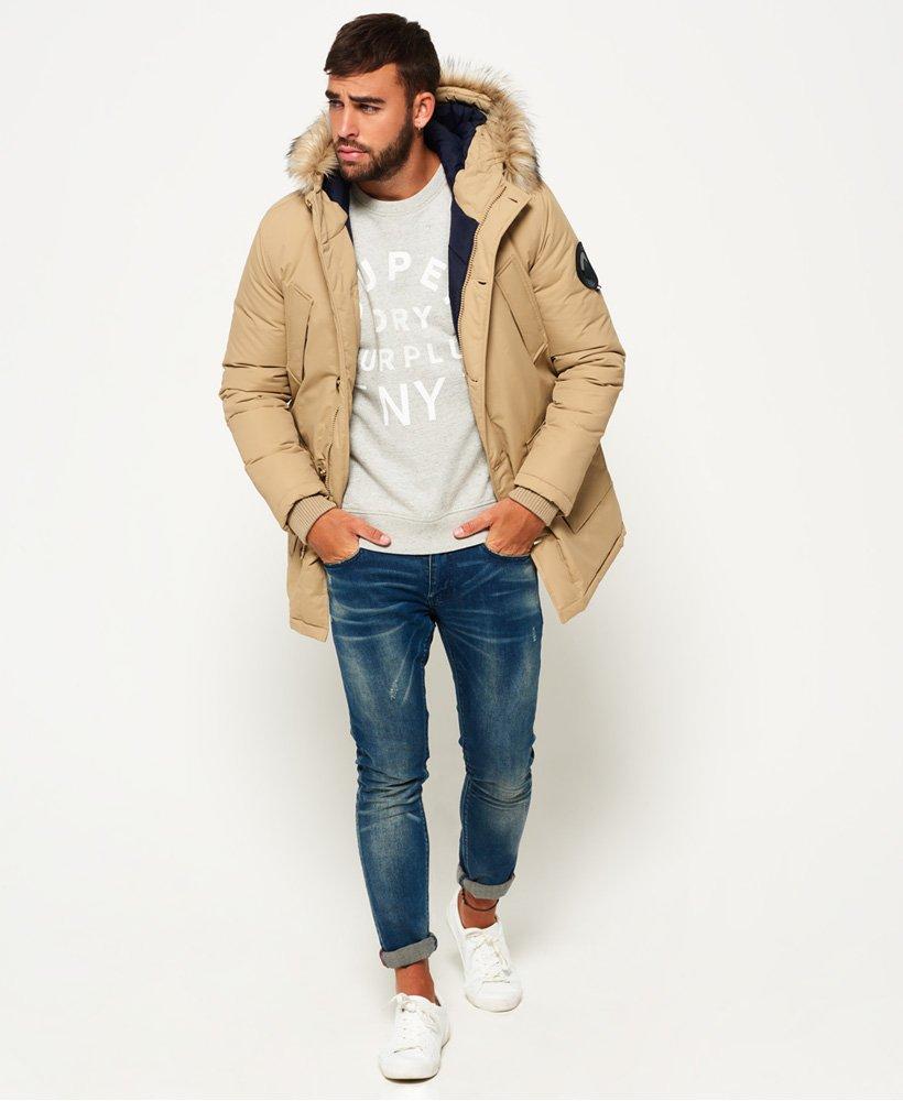 73517e17315 Mens - Faux Fur Trimmed Everest Coat in Sand | Superdry