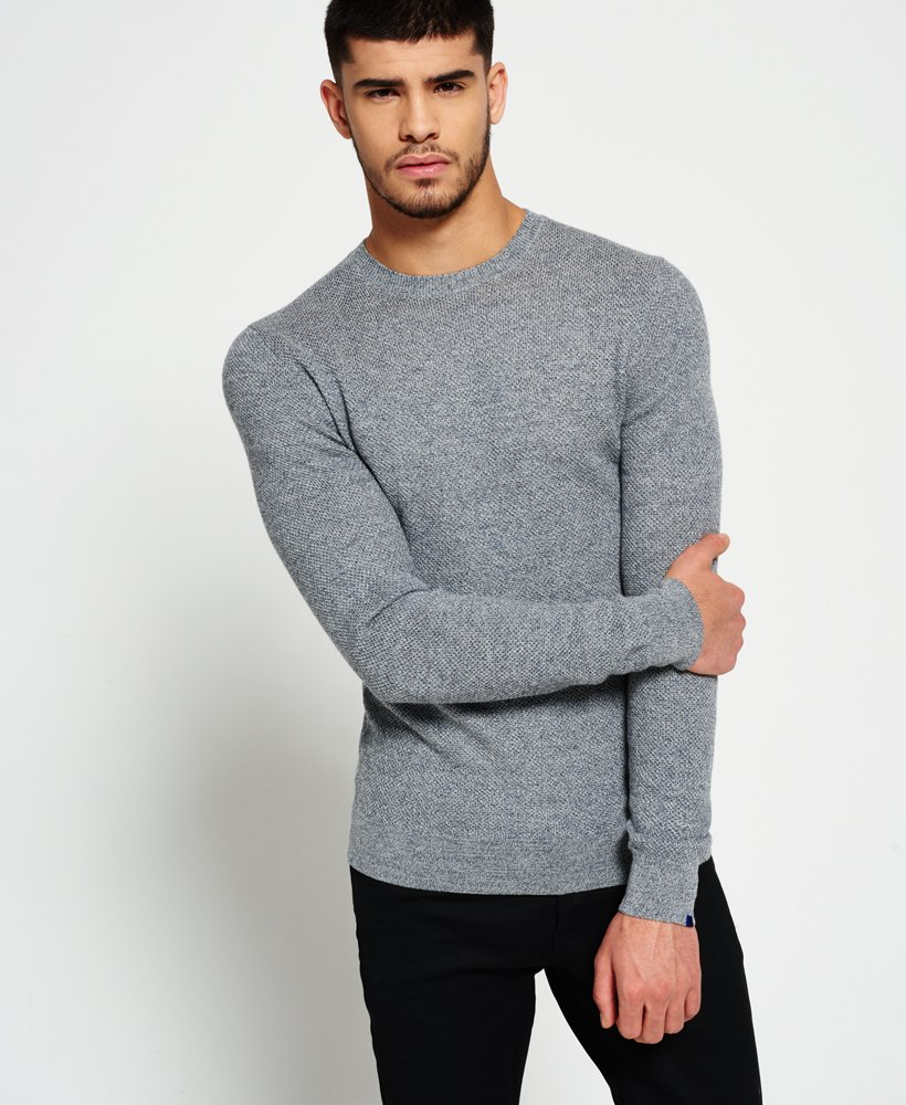 728fa42982a Mens - Premium Textured Knit Crew Jumper in Grey Honeycomb | Superdry