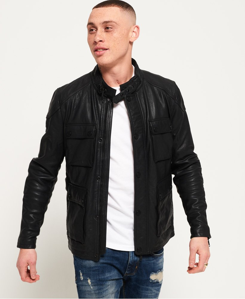 Superdry Leather Rotor Jacket thumbnail 1
