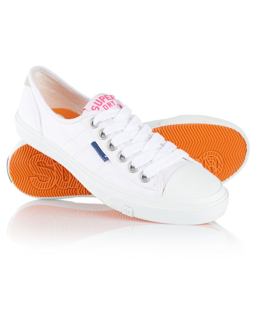 white superdry canvas shoes