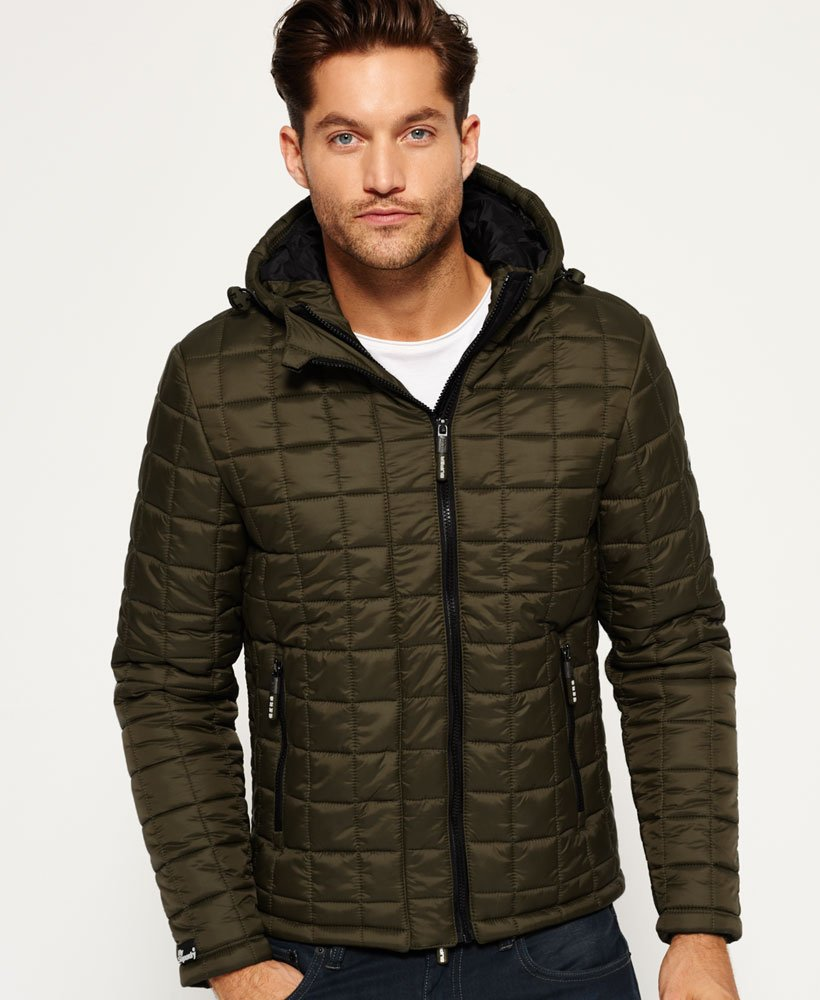 Mens Box Quilt Fuji Jacket in Army | Superdry