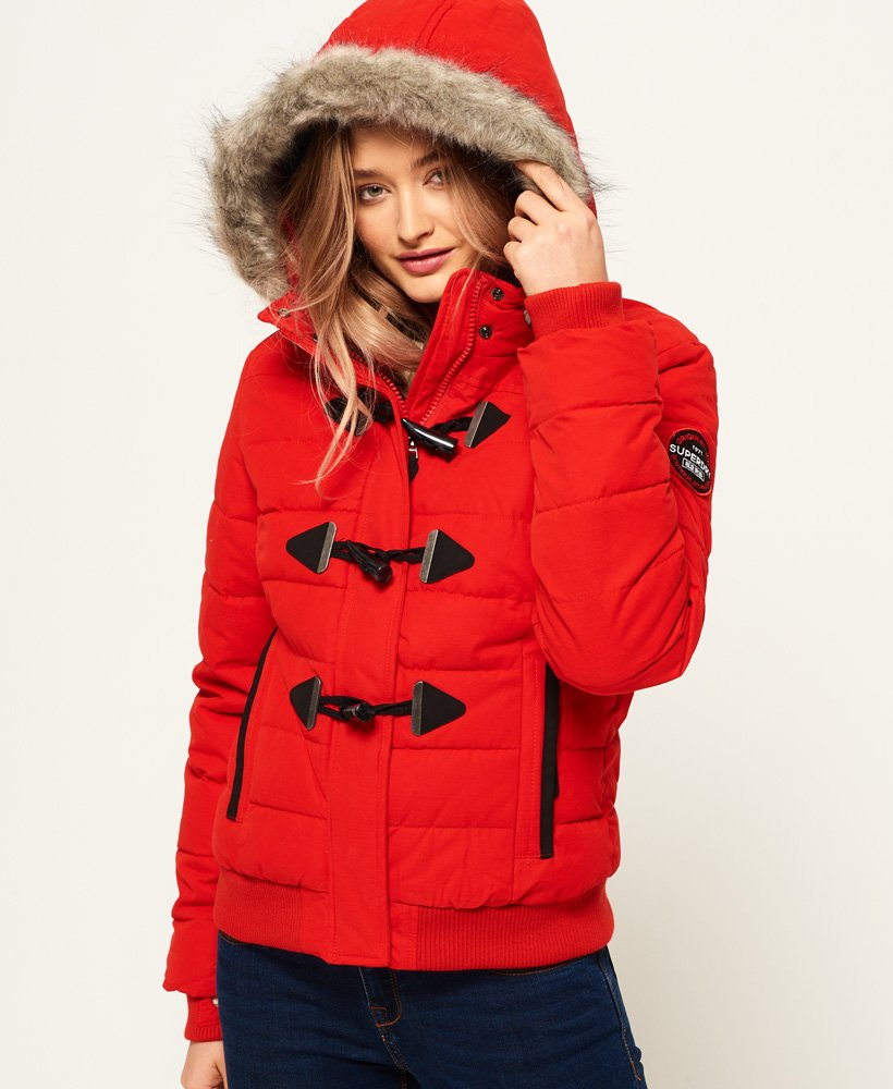 Blouson femme Superdry toggle puffer rouge