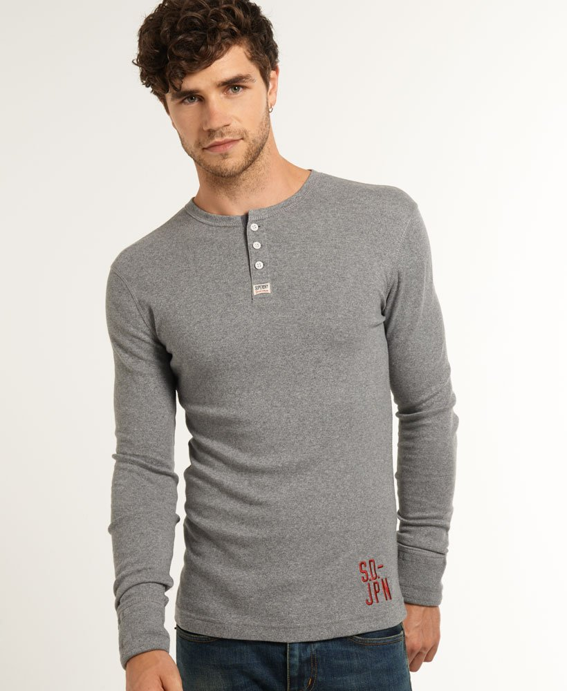 dba82c2a Mens - Heritage Grandad Top in Quarry Grey Grindle | Superdry