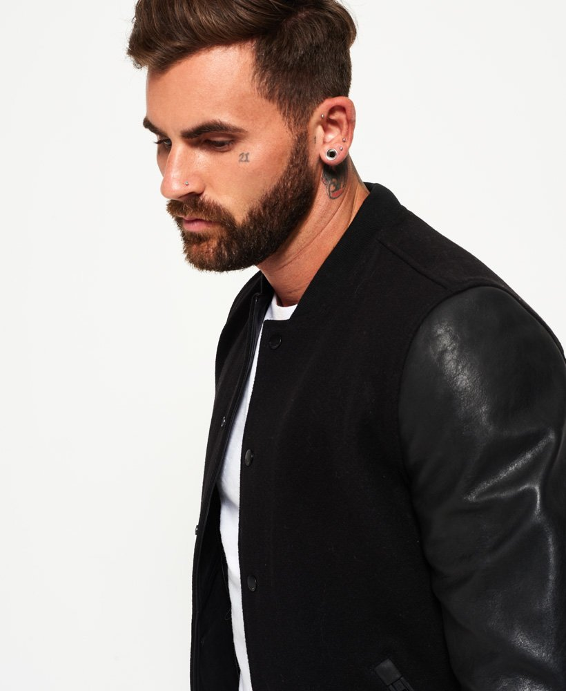 3eb941d68 Mens - Varsity Wool Leather Bomber Jacket in Black | Superdry