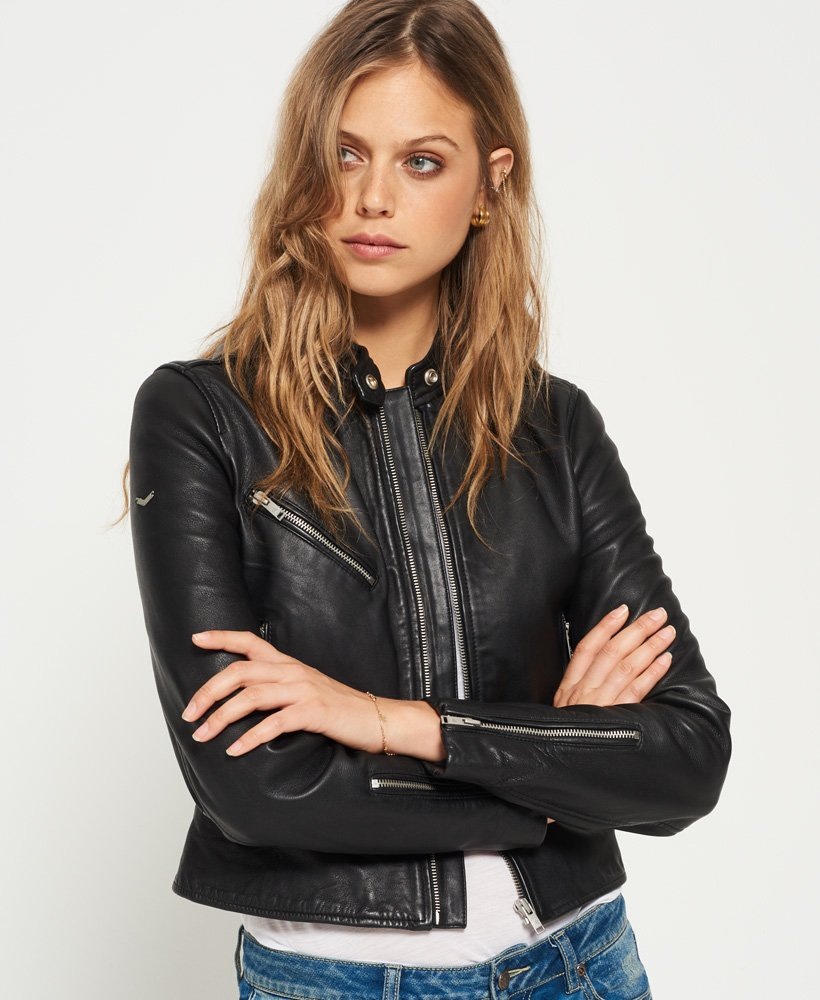 lower price with new products exclusive range Superdry Veste en cuir Malibu Racer pour Femme