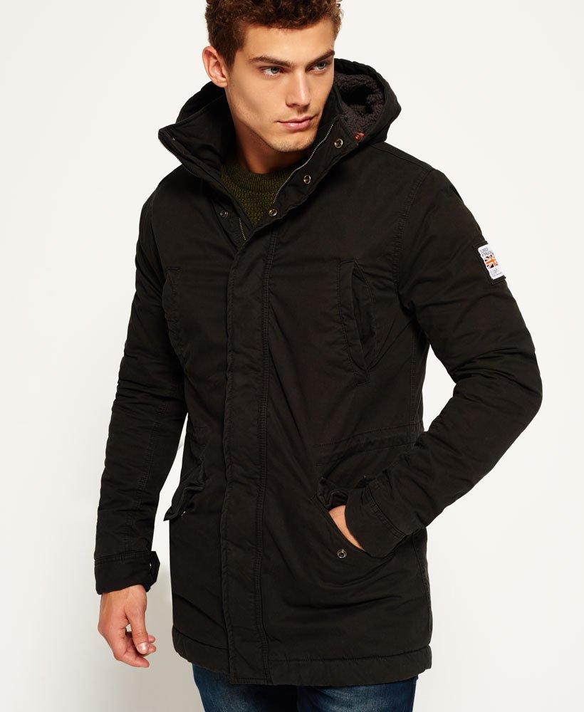 promo code 9e371 91e0d Mens - Rookie Military Parka Jacket in Bitter Black | Superdry
