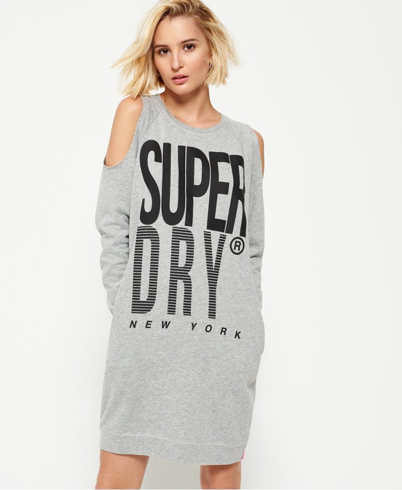 New Womens Superdry Factory Second Rib Sport Cold Shoulder Dress Charcoal