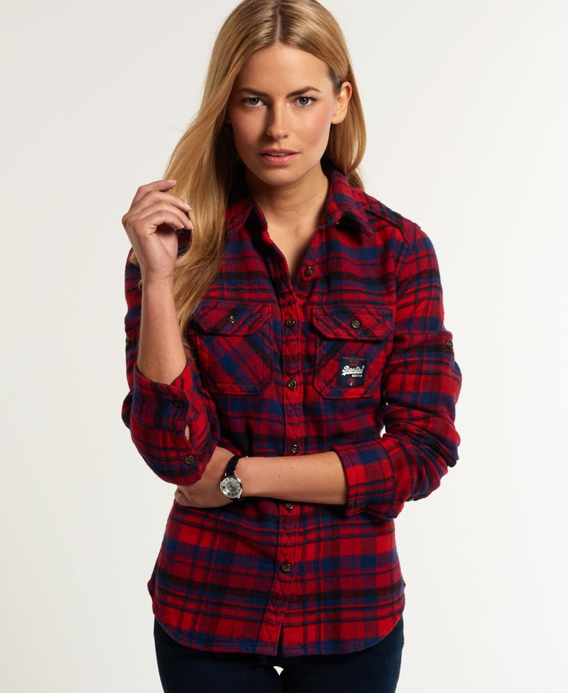 New Womens Superdry Milled Flannel Shirt Ontario Navy Check