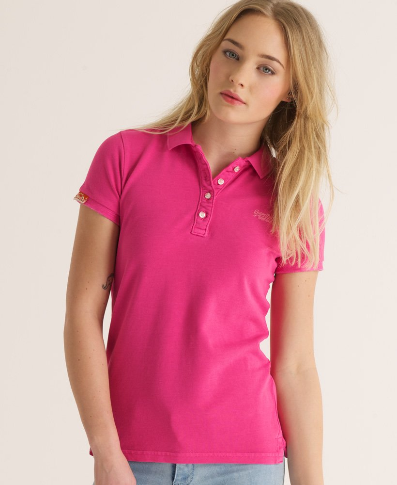 new arrive factory authentic on feet images of Womens - Vintage Destroyed Polo in Pink | Superdry
