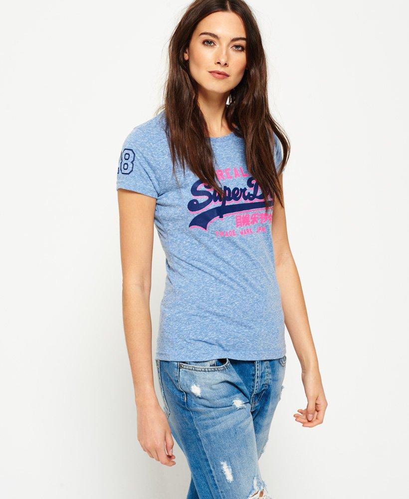 addee579 Womens - Vintage logo Shadow T-shirt in Cali Blue Snowy | Superdry