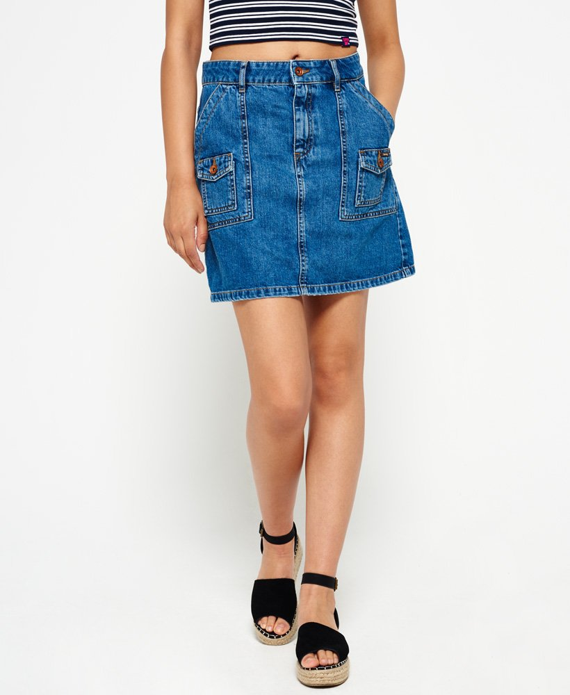 Superdry Utility Patched Denim Skirt